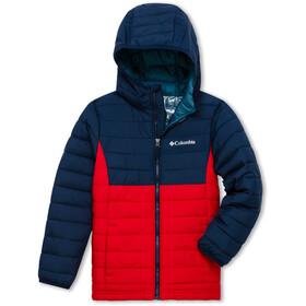 Columbia Powder Lite Hooded Jacket Boys, mountain red/collegiate navy